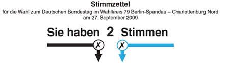 Stimmzettel Bundestagswahl 2009