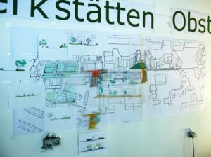 Erste Skizzen mit Ihren Ideen zum neuen Park sind im Charrette-Büro zu sehen