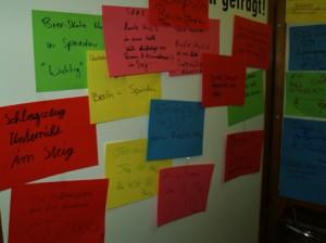Drei Tafeln voll mit Ideen der jungen Menschen unseres Stadtteils