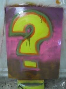 Noch ist es ein Fragezeichen - aber am 12.11. um 18 Uhr wird das Geheimnis gelüftet, welche Ergebnisse die Graffitti-AG der CSO entwickelt hat.
