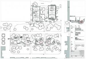 Die Planung für die Aktivflächen für Jugendliche und im Wäldchen davor die Plätze für Familien