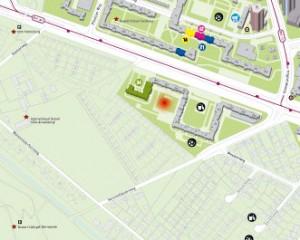 Ort des Stadtteilfestes  2014 (roter Punkt)