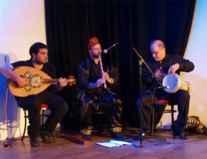 Sorgten für die traditionelle Musik: Hatem Al-Batta, Mahmoud Fagoumi und George Kandalaft