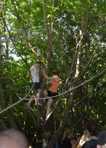 Sekunden danach - die ersten Kids auf den Bäumen